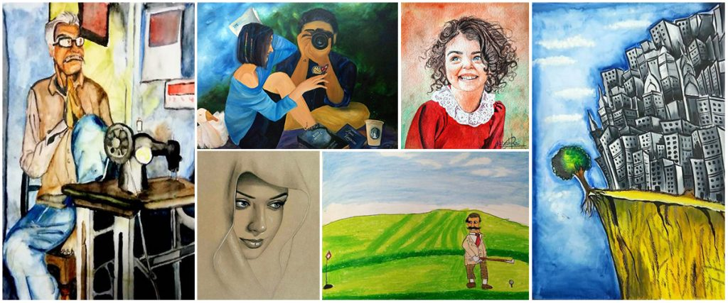 Paintings by shortlisted child artists from Khula Aasmaan drawing and painting competition